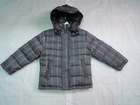 Wholesale & Retail Boys Hooded Plaid Down Coat/jacket--Gray