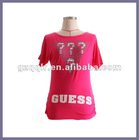2012 knitted print style t-shirt summer woman top