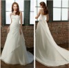 Pretty A-line Strapless White Chiffon Appliqued Elegant Wedding Gowns