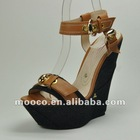 Women high quality summer sandals wedges shoes with buckle wholesale