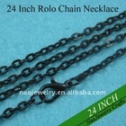 24 Inch Black Rolo Chain Necklace, Necklace Chains