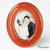 top grade oval shape red color glass photo frame