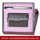 Boxed gift set of metal pen and pu wall mount business card holder
