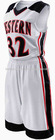 U-V neck Contrast panels polyester eyelet/dazzle/mesh basketball jersey and short