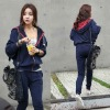 2012 Fashion Plain Zipper-Up Twinset Girls Hoodies Clothing