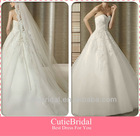 Custom Made Sweetheart Pleating Bodice A-line Wedding Dress With Tulle Skirt