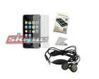 Skque Earphone For Microsoft + Apple Iphone 3G Screen Protector Bundle Kit Set