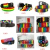 fashion kids 3 row rainbow pyramid studded snap on belt