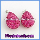 Wholesale Necklace Pendant Crystal Fuchsia Rhinestone Pave Resin Alloy Beads Charm Fashion Teardrop Shape CNP-Z08