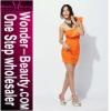 Orange one shoulder dress for lady