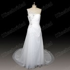 Real Picture Hot Sale White Chiffon Aplliques Beaded One Shoulder Wedding Dress