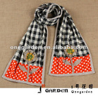 Black White Checked & Polka Dot Pattern Flower Doily Scarf