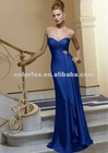 Stella Blue Silky Chiffon Strapless Gown with Criss Cross Draped Bodice and Beading Bridesmaid Dress