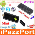 iPazzPort google smart tv box support voice with 1GB rom dual core processor