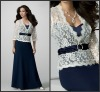 New Style White and Blue A-line Lace Long Sleeves Jacket Chiffon Mother of Bride Dresses