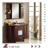 Europe design bathroom color floor mounted solid Wood modern Bathroom Funiture Vanitary cabinet with round mirror