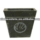 black natural slate stone flowerpots/creative slate flower holder/black natural slate stone flower pot