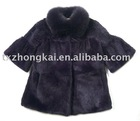 Womens fashion rex rabbit fur coat with fox fur collar