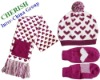 sweat heart cute hat scarf glove set
