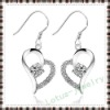 2012 silver heart drop earring jewelry made of 100% solid real genuine 925 sterling silver fashion cz gemstone heart earring