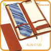 High quality traveling leather tie holder with antique brass holder