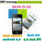 "Jiayu G2 MTK6577 dual core android 4.0 GPS G2S 4.0"" multi-touch 1GB RAM in stock"