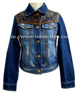 Women's Eyelet PU Combination Decolored Jeans Jacket