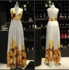 Woman Sexy Flower Silk Backless Halter Tail Party Dress LF002