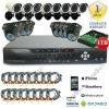 16PCS Indoor&Outdoor Nightvision Camera 16CH H.264 1TB HDD CCTV DVR System Kit