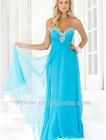 new fashion design sweetheart chiffon blue bridesmaid dress with overskirt IMG-99