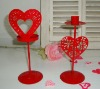 Red Metal wedding favor candle holder with heart decor, for decoration of wedding or valentine's day