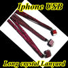 Fashionalbe High quality long red Iphone crystal lanyard ID badge holder