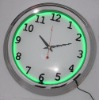 chrome frame neon clock