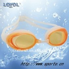 Fashionable high grade swim goggles with low profile and four nose bridge sizes to choose