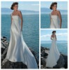 One Shoulder White Chiffon Long Cheap Price Backless Beach Wedding Dress 2012