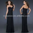 LD2085 Fashion Beadings Applique Sweetheart Black Chiffon Formal Ladies' Evening Dress 2012