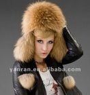 YR-434A Natural color genuine raccoon dog russian fur hat