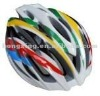 Bicycle helmet cycling helmet in blue, red, yellow, green and white