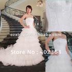Luxury Exquisite Embroidered Chapel Train Satin Wedding Dress