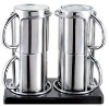 set of the stainless steel coffee cup with steel handle