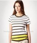 Khaki striped neck t-shirt HST614