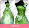 Custom Made Handmade Flowers A Line Organza One Shoulder Evening Dress Ladies Formal Dress