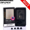 Awei ES-Q7 3.5mm Universal noise cancelling earphone for cell phone, media player, tablet pc,computer