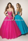2012 New Nice Beaded Satin and Tulle A-Line Style Evening Gowns