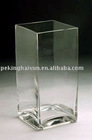 Handmade Clear Square Glass Vase for Flowers