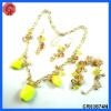 2012 newest design glass beaded with acrylic style matching necklace,earring,indian gold jewelry sets