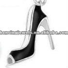 Black Pumps Silver Plated Enamel Charms