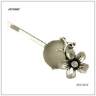 Charm High End White Resin Imitation Silver Floral Alloy Hairpin, Lady Head Accessory