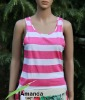 ladies round neck top with all over printed stripe