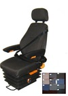 suspension truck seat with three point safety belt